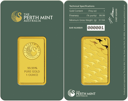 GoldCore Perth Mint 1oz gold bullion bars